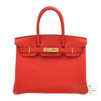 Hermes Birkin bag 30 Rouge coeur Togo leather Gold hardware
