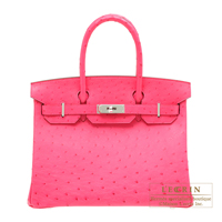 Hermes Birkin bag 30 Rose tyrien Ostrich leather Silver hardware