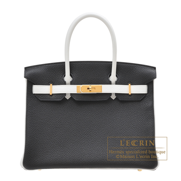 Hermes Personal Birkin bag 30 Black/White Clemence leather Gold hardware