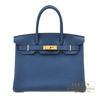 Hermes Birkin bag 30 Deep blue Togo leather Gold hardware