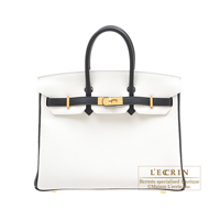 Hermes Personal Birkin bag 25 White/Black Clemence leather Gold hardware