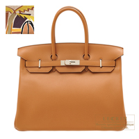Hermes Birkin bag 35 Sea,Surf and Fun Toffee Novillo leather/Toile H Silver hardware