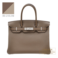 Hermes Birkin Verso bag 30 Taupe grey/ Gris tourterelle Clemence leather Silver hardware