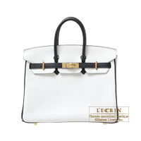 Hermes Personal Birkin bag 25 White/Black Clemence leather Champagne gold hardware