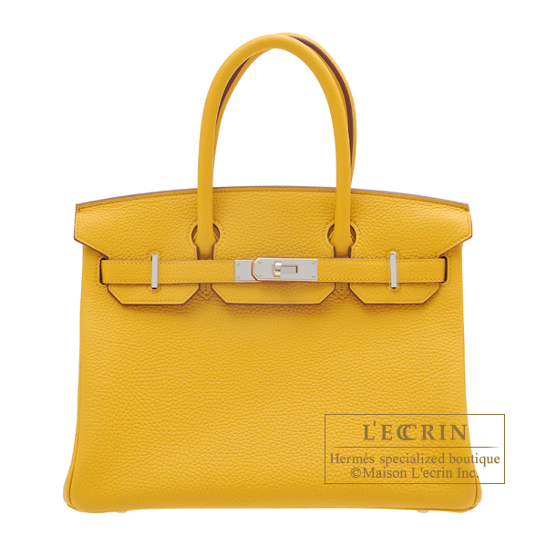 Birkin bag 30 Jaune ambre Clemence leather Silver hardware