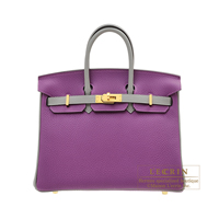 Hermes Personal Birkin bag 25 Anemone/ Gris mouette Togo leather Matt gold hardware