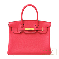 Hermes Birkin bag 30 Rose extreme Clemence leather Gold hardware