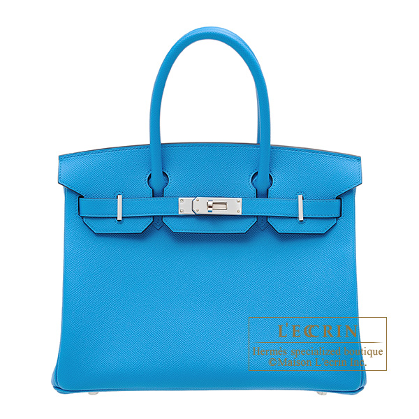 Hermes Birkin bag 30 Blue frida Epsom leather Silver hardware
