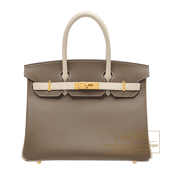 Hermes Personal Birkin bag 30 Etoupe grey/ Craie Epsom leather Matt gold hardware
