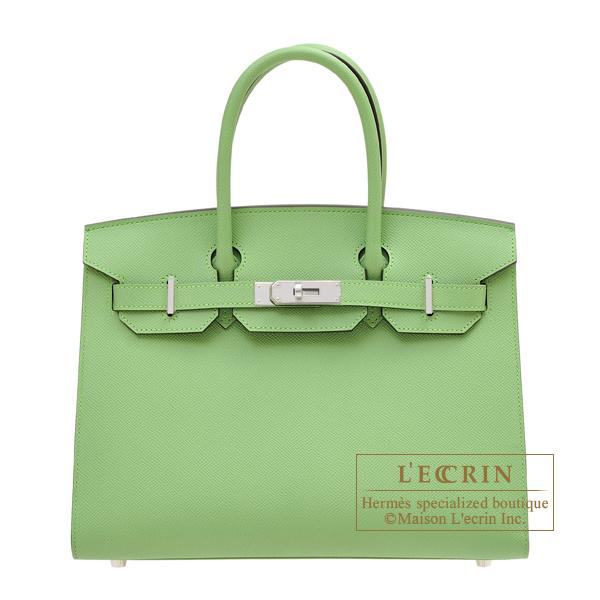 Hermes Birkin Sellier bag 30 Vert criquet Epsom leather Silver hardware