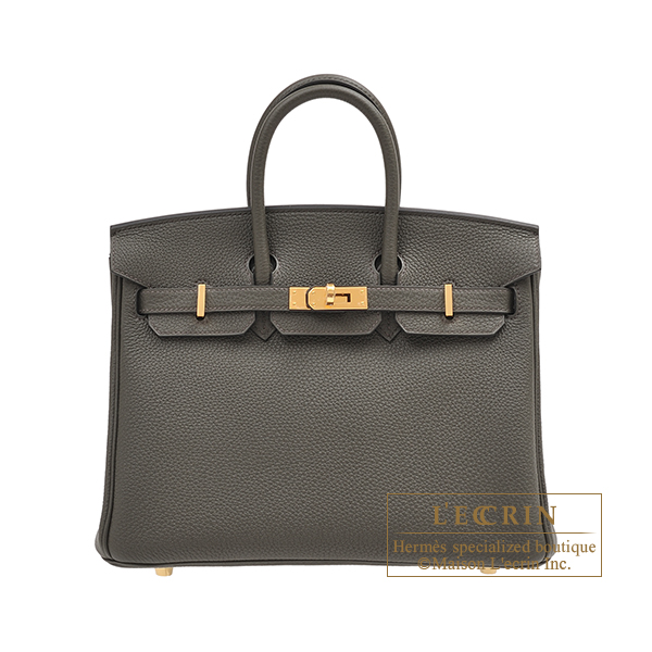 Hermes Birkin bag 25 Vert gris Togo leather Gold hardware