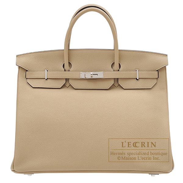 Birkin bag 40 Trench Togo leather Silver hardware