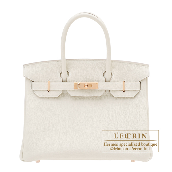 Hermes Birkin bag 30 Craie Togo leather Rose gold hardware