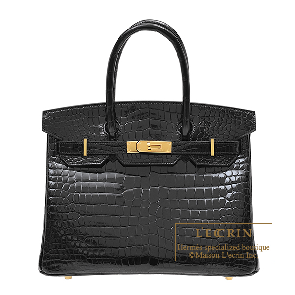 Hermes Birkin bag 30 Black Porosus crocodile skin Gold hardware