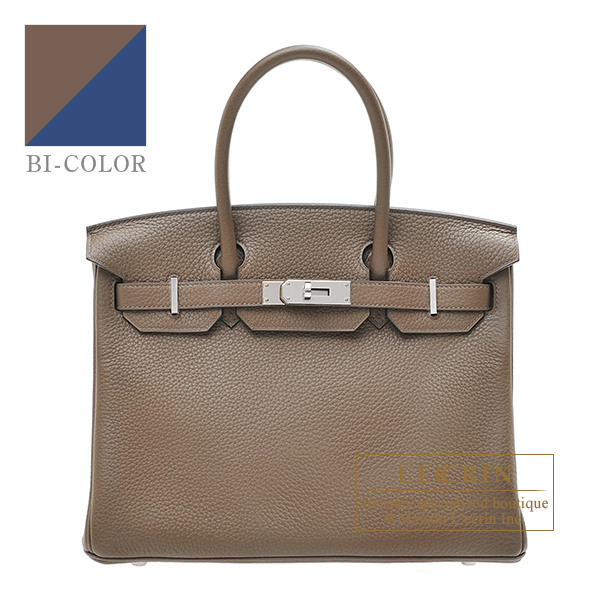 Hermes Birkin Verso bag 30 Taupe grey/ Blue roy Clemence leather Silver hardware