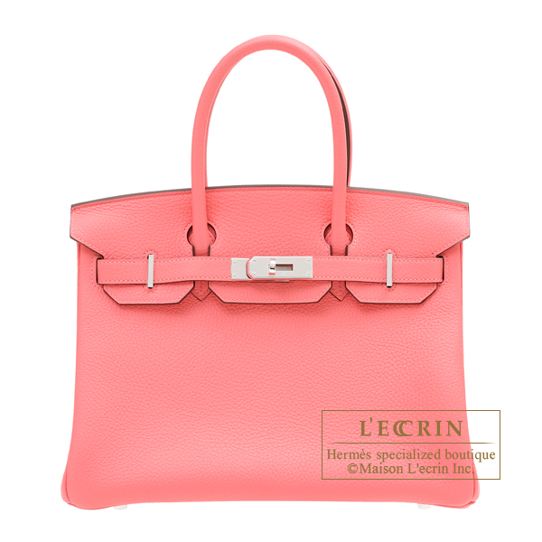 Hermes Birkin bag 30 Rose azalee Clemence leather Silver hardware
