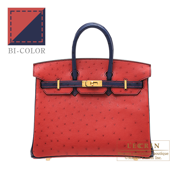 Hermes Personal Birkin bag 25 Rouge vif/Blue iris Ostrich leather Gold hardware