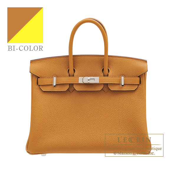 Hermes Birkin Verso bag 25 Caramel/ Lime Togo leather Silver hardware