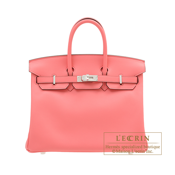 Hermes Birkin bag 25 Rose d'ete Swift leather Silver hardware