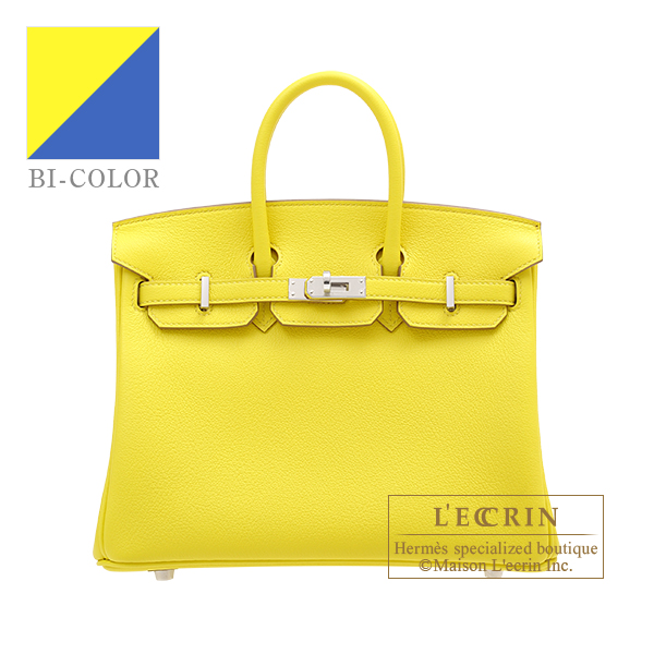 Hermes Birkin Verso bag 25 Lime/ Blue bleuet Novillo leather Silver hardware