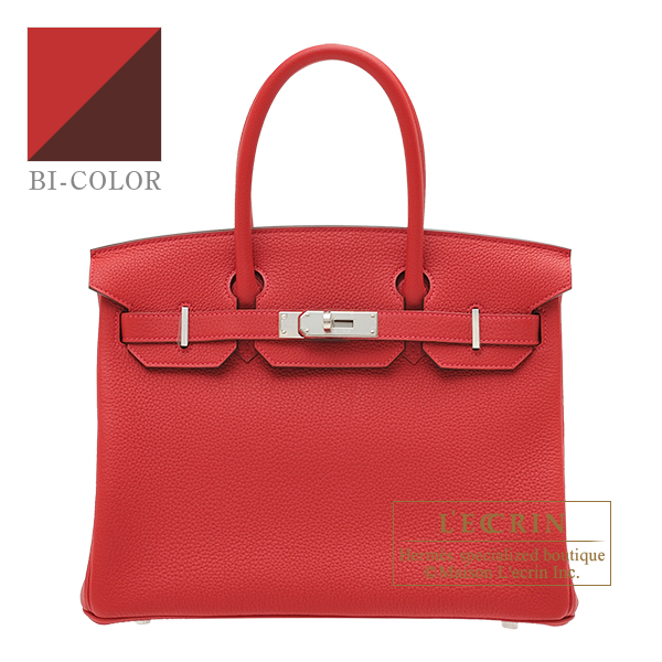 Hermes Birkin Verso bag 30 Rouge casaque/ Rouge H Togo leather Silver hardware
