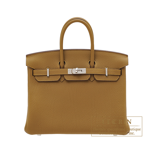 Hermes Birkin bag 25 Bronze dore Togo leather Silver hardware