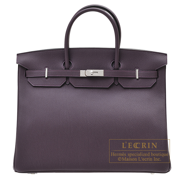 Hermes Birkin bag 40 Raisin Togo leather Silver hardware