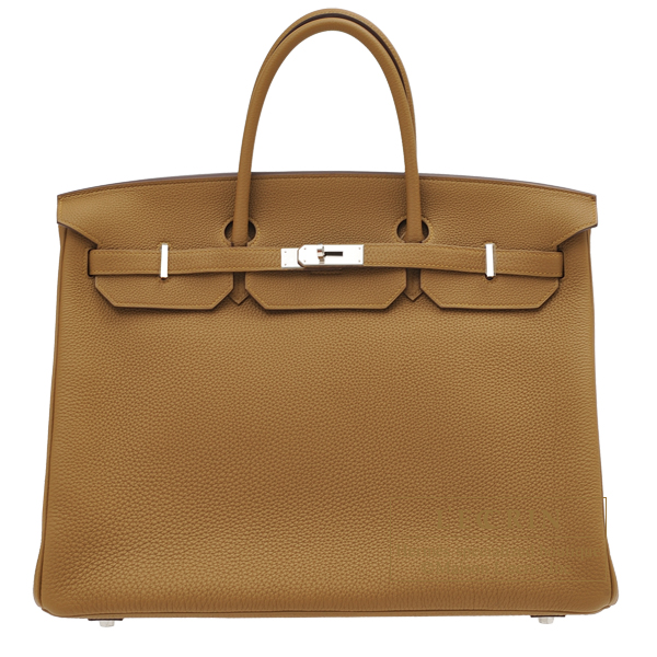 Hermes Birkin bag 40 Bronze dore Togo leather Silver hardware