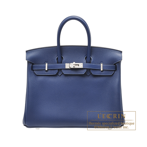 Hermes Birkin bag 25 Blue saphir Novillo leather Silver hardware