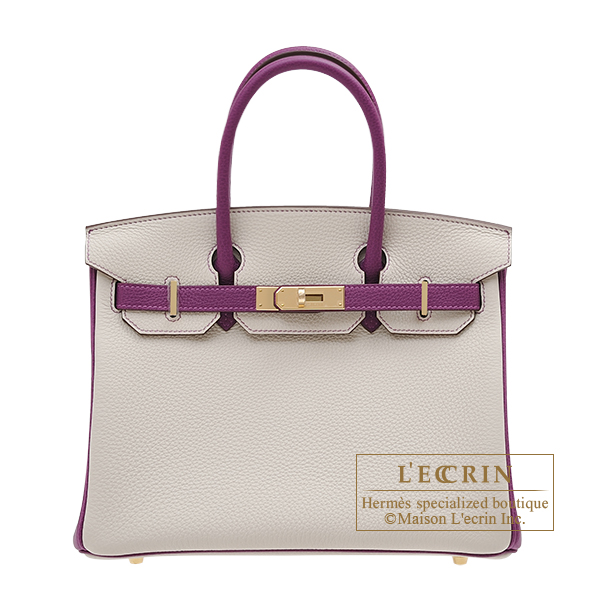 Hermes Personal Birkin bag 30 Beton/Anemone Togo leather Champagne gold hardware