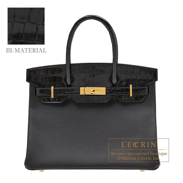 Hermes Birkin Touch bag 30 Black Togo leather/ Niloticus crocodile skin Gold hardware