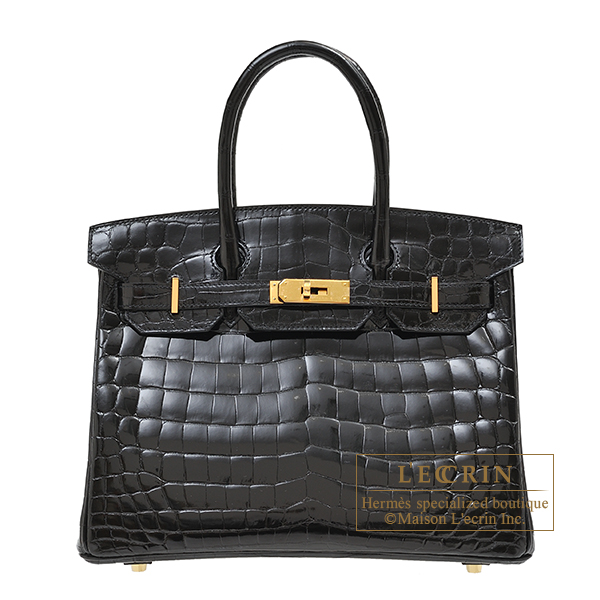 Hermes Birkin bag 30 Black Niloticus crocodile skin Gold hardware