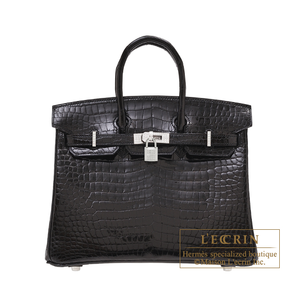 Hermes Birkin Diamond bag 25 Black Porosus crocodile skin White gold hardware