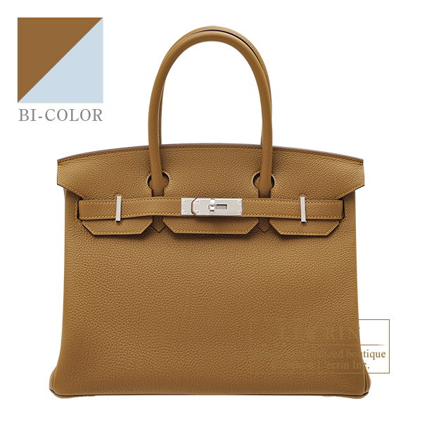 Hermes Birkin Verso bag 30 Bronze dore/ Blue brume Togo leather Silver hardware