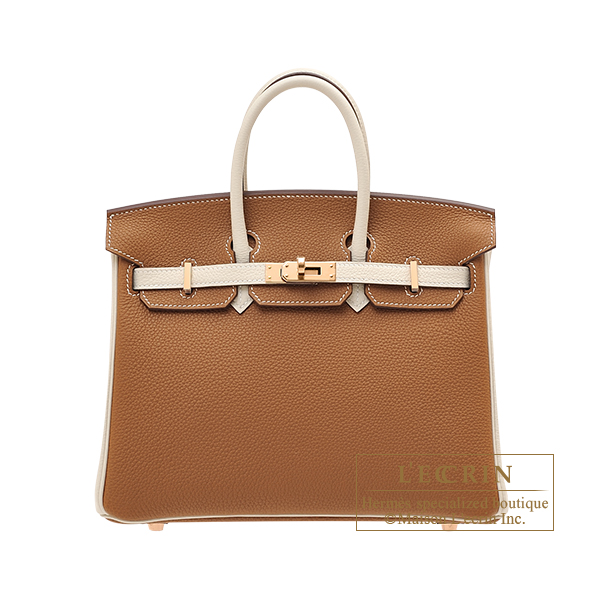 Hermes Personal Birkin bag 25 Gold/Craie Togo leather Rose gold hardware