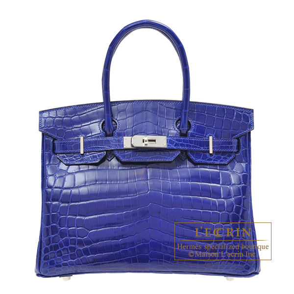 Hermes Birkin bag 30 Blue electric Niloticus crocodile skin Silver hardware