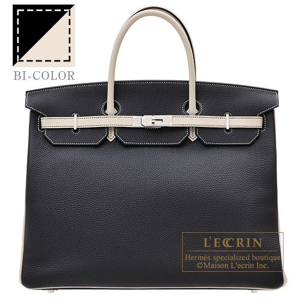 Hermes Personal Birkin bag 40 Black/ Craie Togo leather Silver hardware