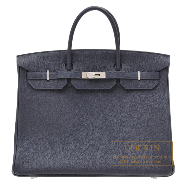 Hermes Birkin bag 40 Blue nuit Togo leather Silver hardware