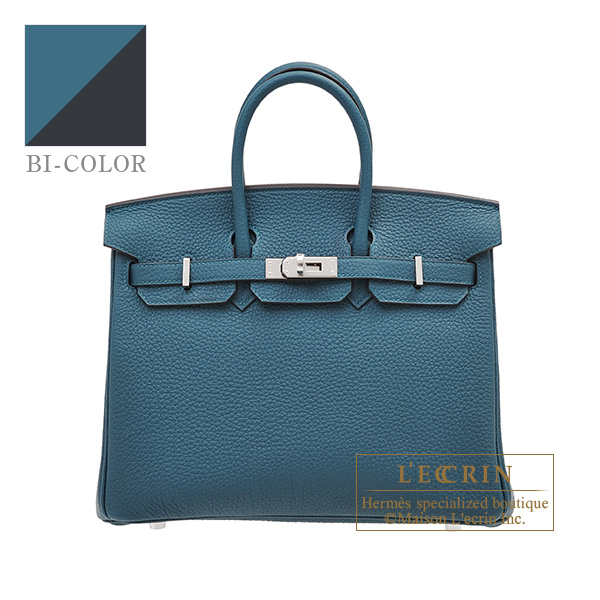 Hermes Birkin Verso bag 25 Vert bosphore/ Blue ocean Togo leather Silver hardware