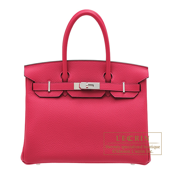 Hermes Birkin bag 30 Framboise Togo leather Silver hardware