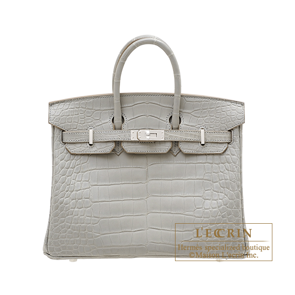 Hermes Birkin bag 25 Pearl grey Matt alligator crocodile skin Silver hardware