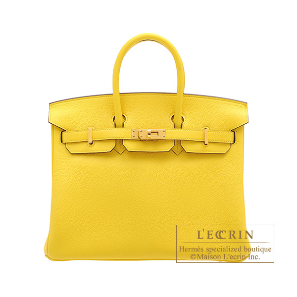 Hermes Birkin bag 25 Jaune de naples Novillo leather Gold hardware