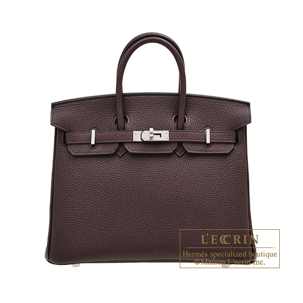 Hermes Birkin bag 25 Rouge sellier Togo leather Silver hardware