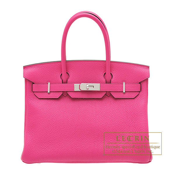 Hermes Birkin bag 30 Rose shocking Clemence leather Silver hardware