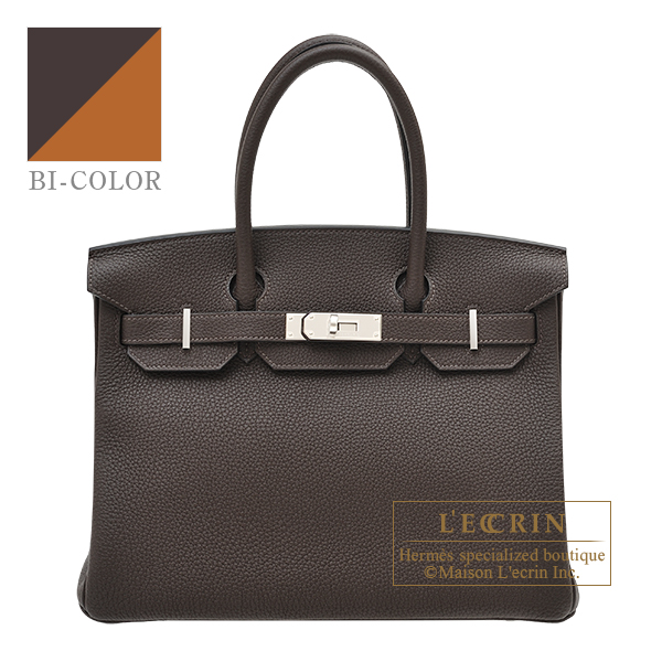 Hermes Birkin Verso bag 30 Ebene/ Toffee Togo leather Silver hardware