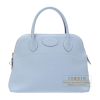 Hermes Bolide bag 31 Blue lin Clemence leather Silver hardware