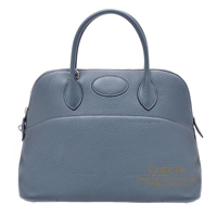 Hermes Bolide bag 35 Blue orage Clemence leather Silver hardware