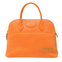Hermes Bolide bag 35 Orange Clemence leather Silver hardware