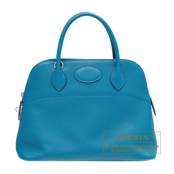 Hermes Bolide bag 31 Blue izmir Clemence leather Silver hardware