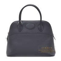 Hermes Bolide bag 31 Blue indigo Clemence leather Silver hardware